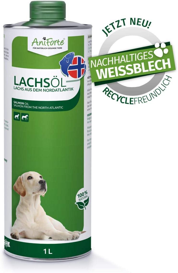 AniForte Aceite de Salmón para Perros 1 Litro - 100% natural. Contiene Ácidos Grasos Omega 3, EPA, DHA Y Linolénico. Beneficioso Para Huesos Fuertes y Pelaje Brillante, Envases reciclables sin BPA