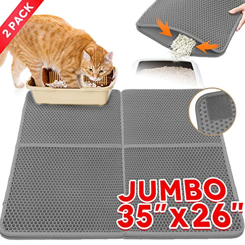 Cat Litter Mat,Kitty Litter Trapper,Extra Large Max 35″x26″(2pcs Spliced) Cat Mats for Litter Box,Honeycomb Double-Layer Design Waterproof Urine Proof,Box Mat Litter Trapper,Easy Clean Scatter Control