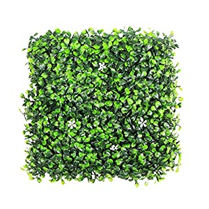 "ULAND Artificial Boxwood Hedges Panels, Greenery Ivy Privacy Fence Screening, Home Garden Outdoor Wall Decoration, 20""X20"" per pc 104"