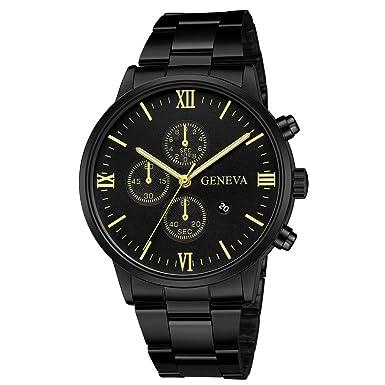 Darringls_Reloj 657 Geneva,Reloj de Acero Inoxidable Negro Clásico de Lujo Calendario de Moda Clásico Diseñador Analógico Cuarzo Fecha de Negocios: ...