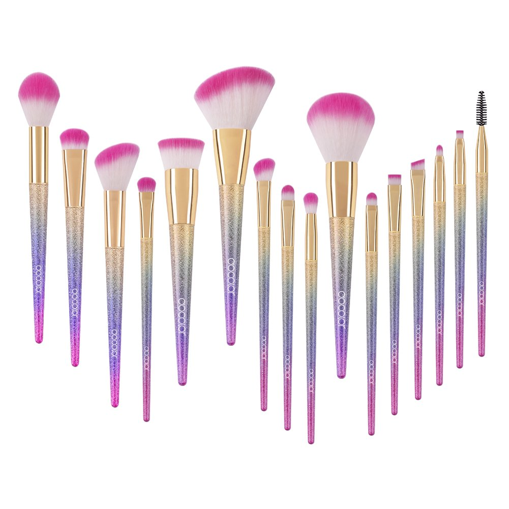 Docolor Makeup Brushes, 16pcs Professional Fantasy Make Up Brush Set Foundation Blending Blush Concealer Eye Shadow Cruelty Free Synthetic Face Liquid Powder Cream Cosmetics Brushes With Rainbow Box by Docolor