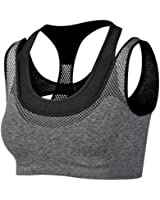 Zerlar Double Layer Seamless Sports Bra High Impact Racerback Yoga Sports Bra