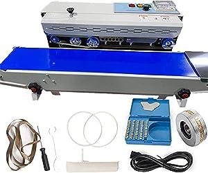 Automatic continuous sealing machine Food sealing machine Horizontal automatic pulse sealing machine Plastic sealing machine Food grade packaging [110v/60hz blue]