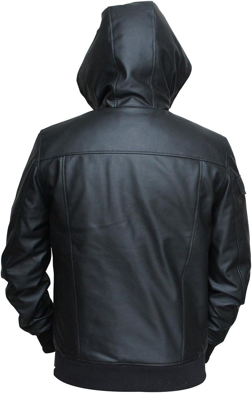 III-Fashions Mens Black Leather Jacket Black Hooded Jacket Bomber Hoodie for Men