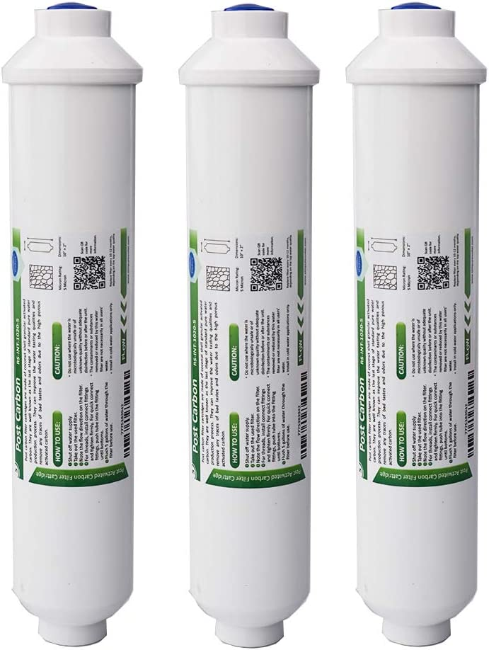"""5 Micron Universal Inline Carbon Water Filter, Membrane Solutions T33 Coconut Activated Post Carbon Water Filter Replacement Cartridge 10"""" x 2"""", 3-Pack"""