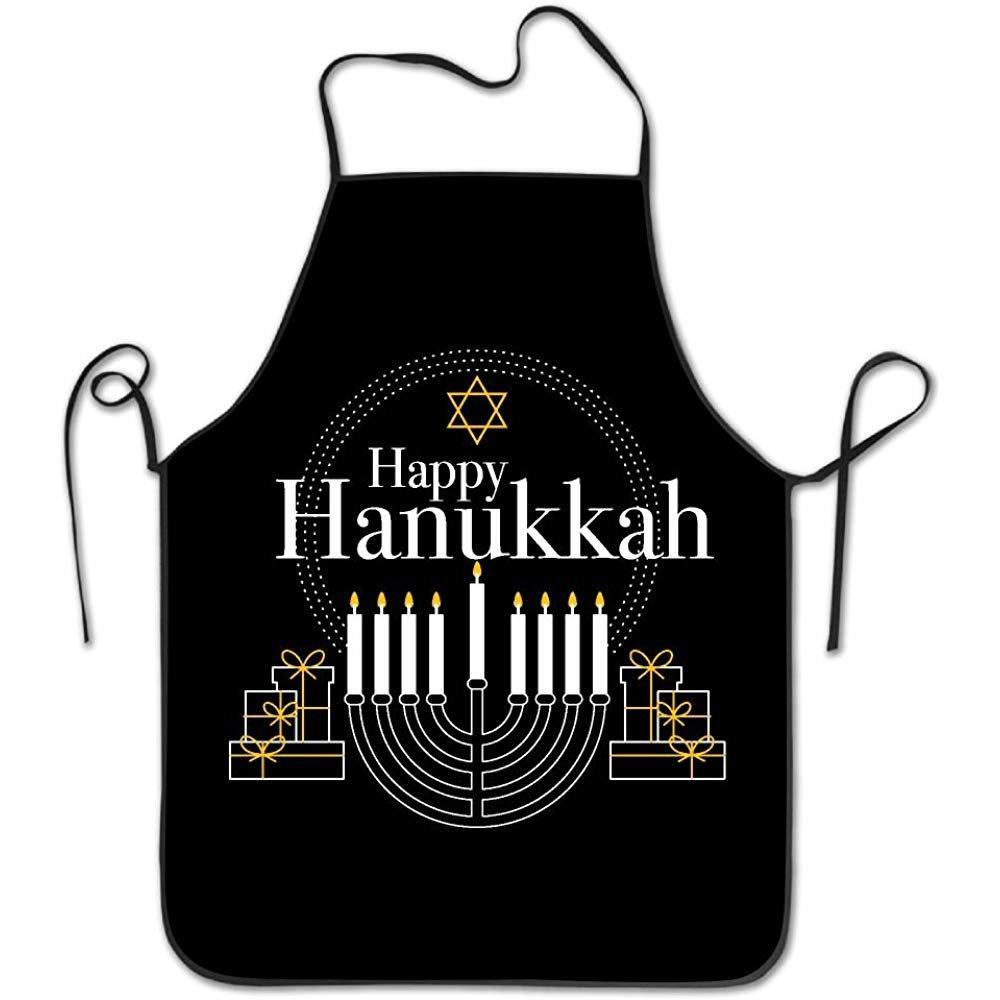 starobosエプロンHanukkah Festival of Lights Merry Xmasカスタム快適なガーデンキッチン女性面白いバーベキューエプロン   B07F7BWWHS
