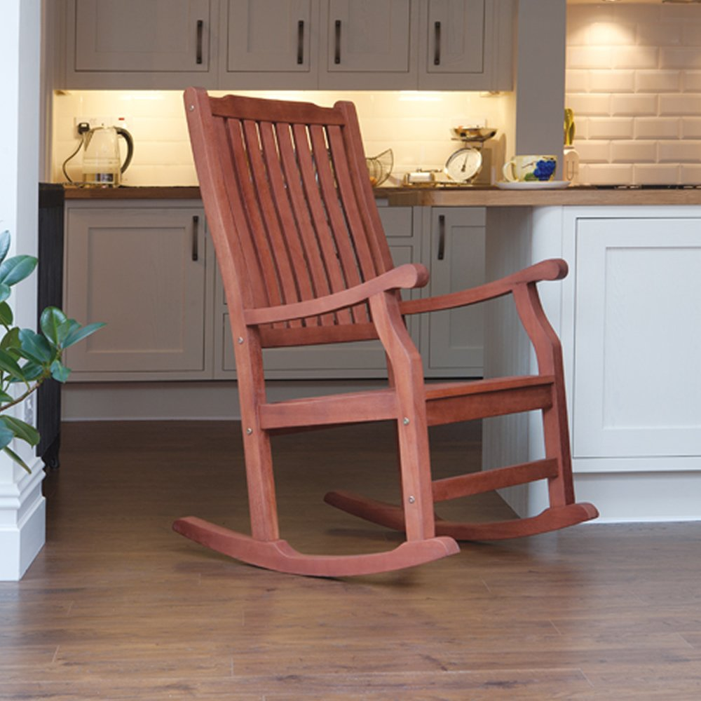 Trueshopping Wellwood Large Rocking Chair Classic Design FSC Hardwood - For Kitchen, Patio or Veranda