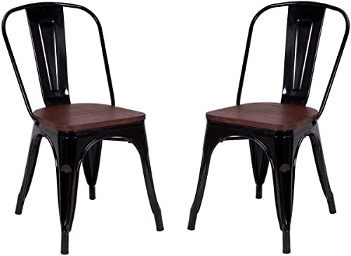 Casart Tolix Style Dining Chairs Industrial Metal Stackable Cafe Side Chair w/Wood Seat Set of 2 Black