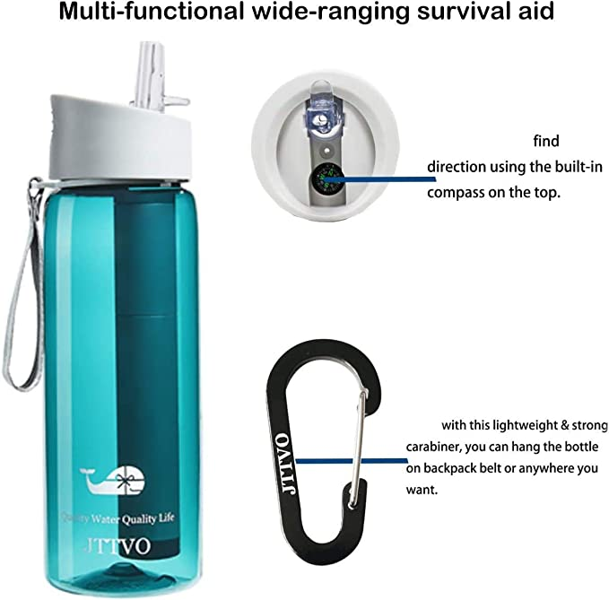 Easiestsuck Filtered Water Bottle 26OZ Upgrade 2 Stage Outdoor Water Bottle with Filter Straw for Hiking,Camping,Travel,Backpacking BPA Free