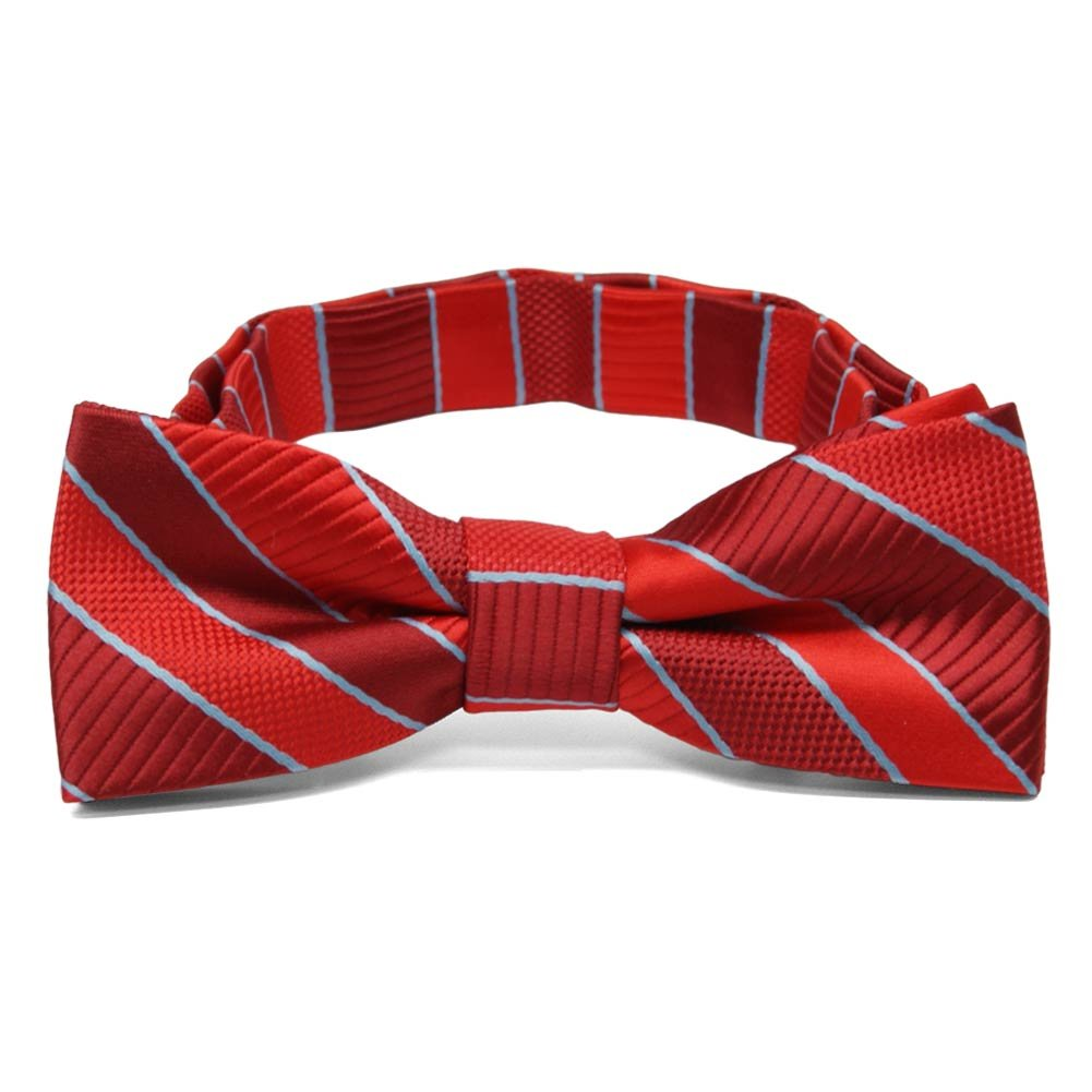 TieMart Boys Red Douglas Stripe Bow Tie