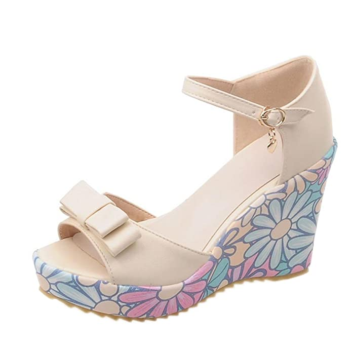 Amazon.com | DaveDu NEW Verão das sandálias das mulheres sandálias de cunha florais alta-salto alto sapatos Macios confortáveis sandálias bowknot MY001 | ...