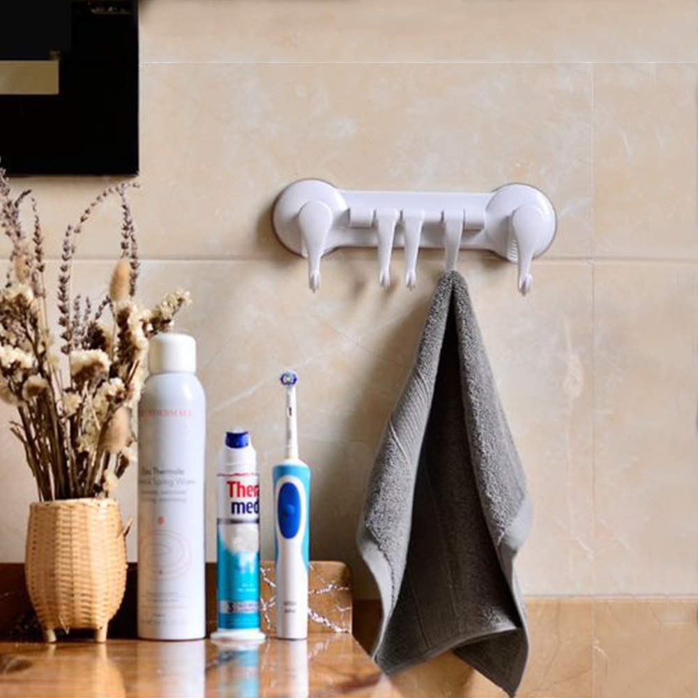 Star-Five-Store - New Designed Washing Towel Hooks Bathroom Kitchen Window Wall Sucker Suction Cup Hanger with 5 Hooks