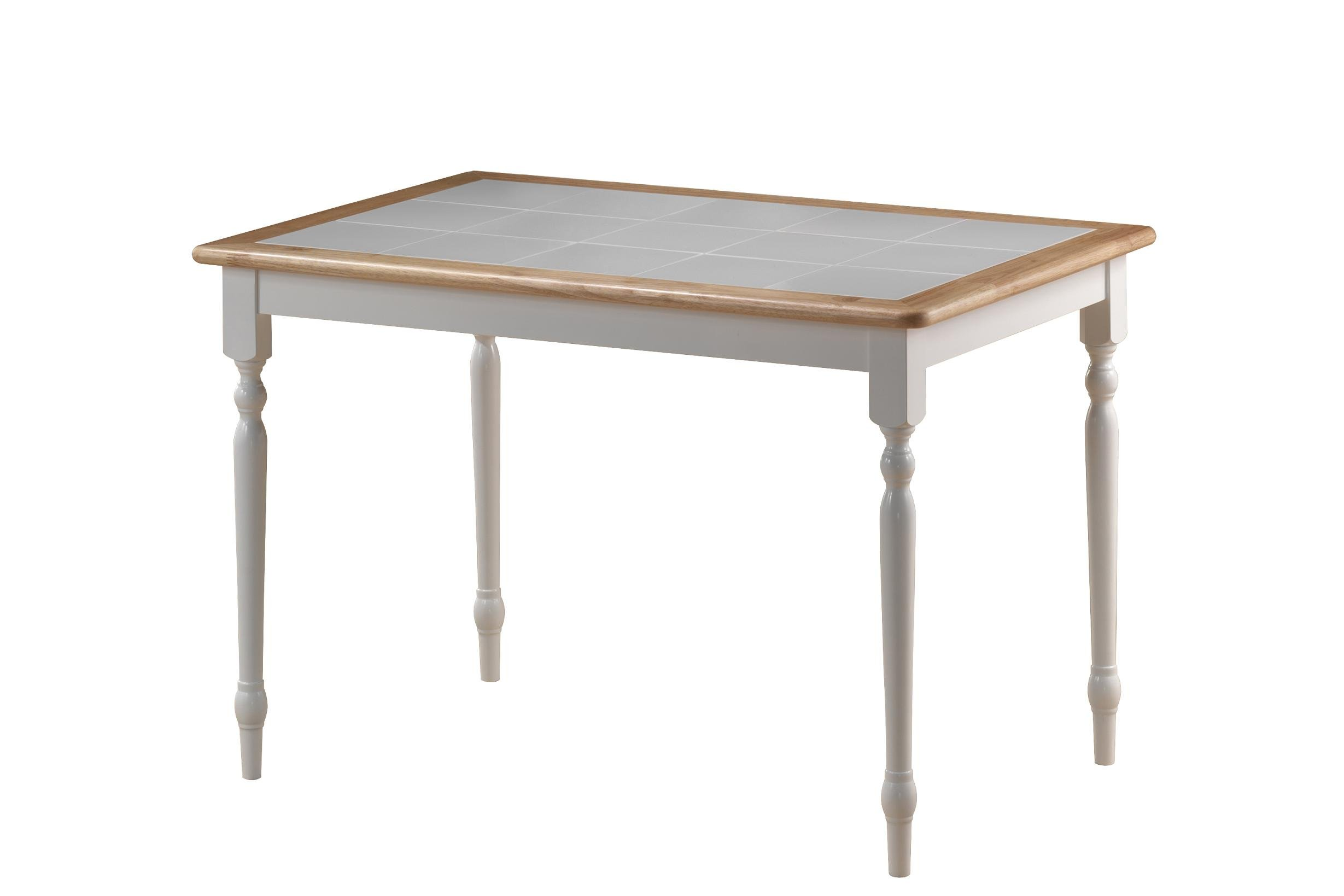 Boraam 70100 Tile Top Table, 30-Inch by 45-Inch, White/Natural by Boraam