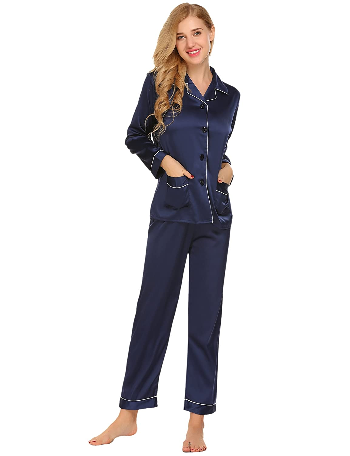 c01a77ddca ZHENWEI Womens Pajama Sets Long Sleeve Button Down Satin Pj Sleepwear with Pocket  2 Piece at Amazon Women s Clothing store
