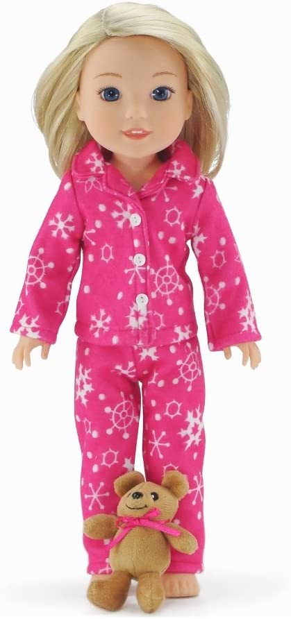 Emily Rose 14 Inch Doll Clothes   2 Piece Snowflake Doll PJ Set with Doll Sized Teddy Bear!!   Gift Boxed!   Compatible with 14.5