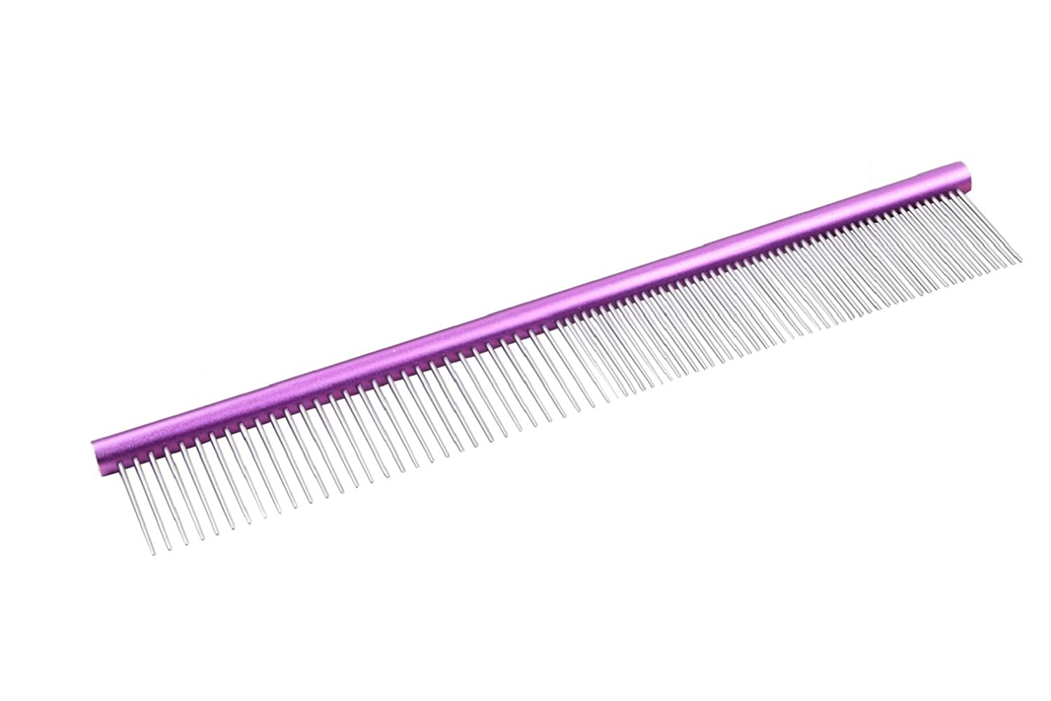 purple Extra Long Pet Combs,Cat Combs, Dog Grooming Combs, Stainless Steel Shedding Comb Brush Fine Coarse Pins Rounded Teeth Trimmer, Horse Grooming Tools 9.8 inch (purple)