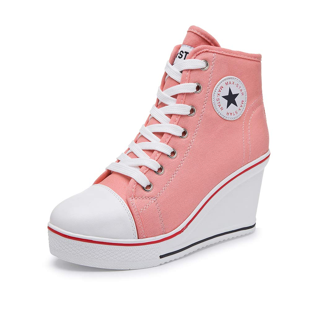 Pink Sokaly Women's Sneaker High-Heeled Canvas shoes High-Top Wedge Sneakers Platform Lace up Side Zipper Pump Fashion Sneakers