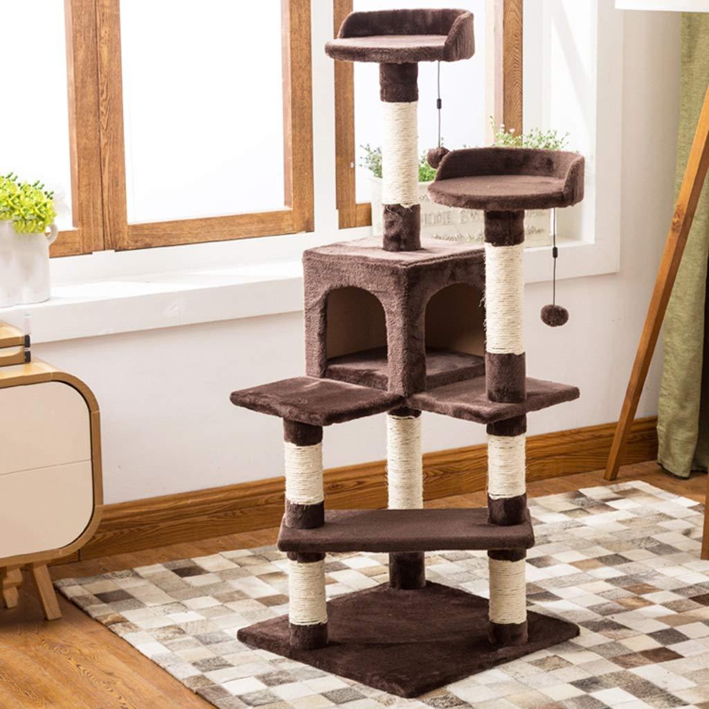 BROWN 45cm45cm130cm BROWN 45cm45cm130cm Siler Cat Tree, Large Sisal Cat Climbing Frame Cat House Floor Cat Tower Cat Scratch Board Activity Center SL-006 (color   Brown, Size   45cm45cm130cm)