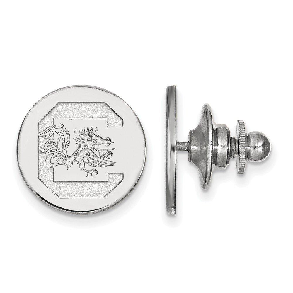 15mm x 15mm Jewel Tie 14k White Gold University of South Carolina Lapel Pin