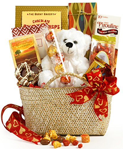 Broadway Basketeers Valentine's Day Gourmet Gift Basket - Assortment Includes Lindt Truffles, Caramel Popcorn, Ghirardelli Squares, Teddy Bear & Lots of Love