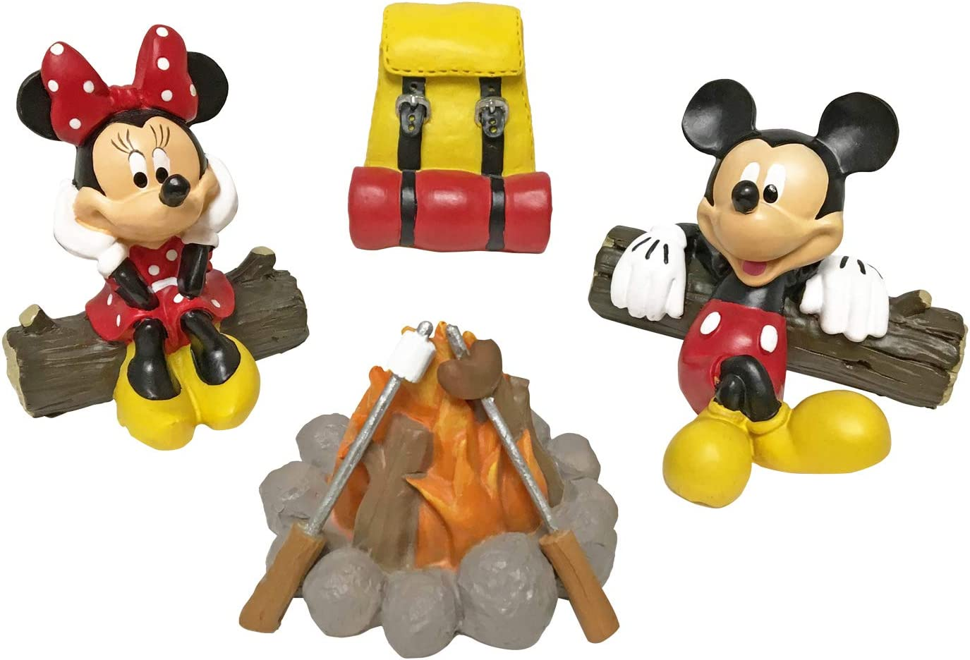 The Galway Company Classic Mickey and Minnie Fairy Garden, Hand Painted, 6 Piece, Official Disney Licensed Product.