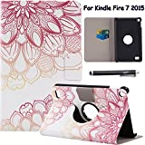Folio Case for Fire 7 2015 - Newshine 360 Degree Slim Magnetic Closure Standing Cover Case for Amazon Kindle Fire 7 Tablet (Only Fit Fire 7'' Display 5th Generation - 2015 Release),Lotus Flower