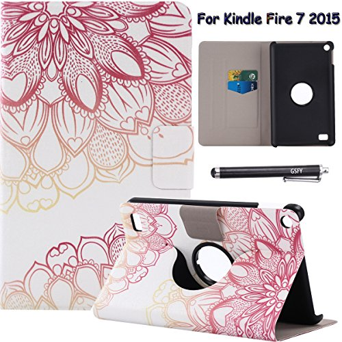Folio Case for Fire 7 2015 - Newshine 360 Degree Slim Magnetic Closure Standing Cover Case for Amazon Kindle Fire 7 Tablet (Only Fit Fire 7'' Display 5th Generation - 2015 Release),Lotus Flower by NewShine