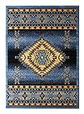 Bellagio Southwest Native American Area Rug Design 357 Blue (5 Feet 2 Inch x 7 Feet 3 Inch)