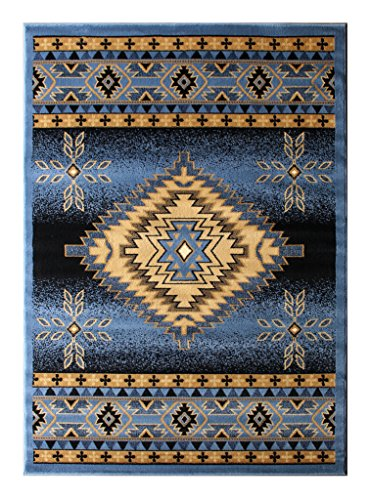 Cheap  Southwest Native American Area Rug Design Bellagio 357 Blue (4 Feet x..