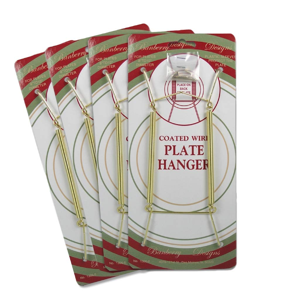 Banberry Designs Brass Vinyl Coated Plate Hanger 8 to 10 Inch - Set of 4 Pcs - Clear Vinyl Sleeves Protect the Plate - Hook and Nail Included 1306-8