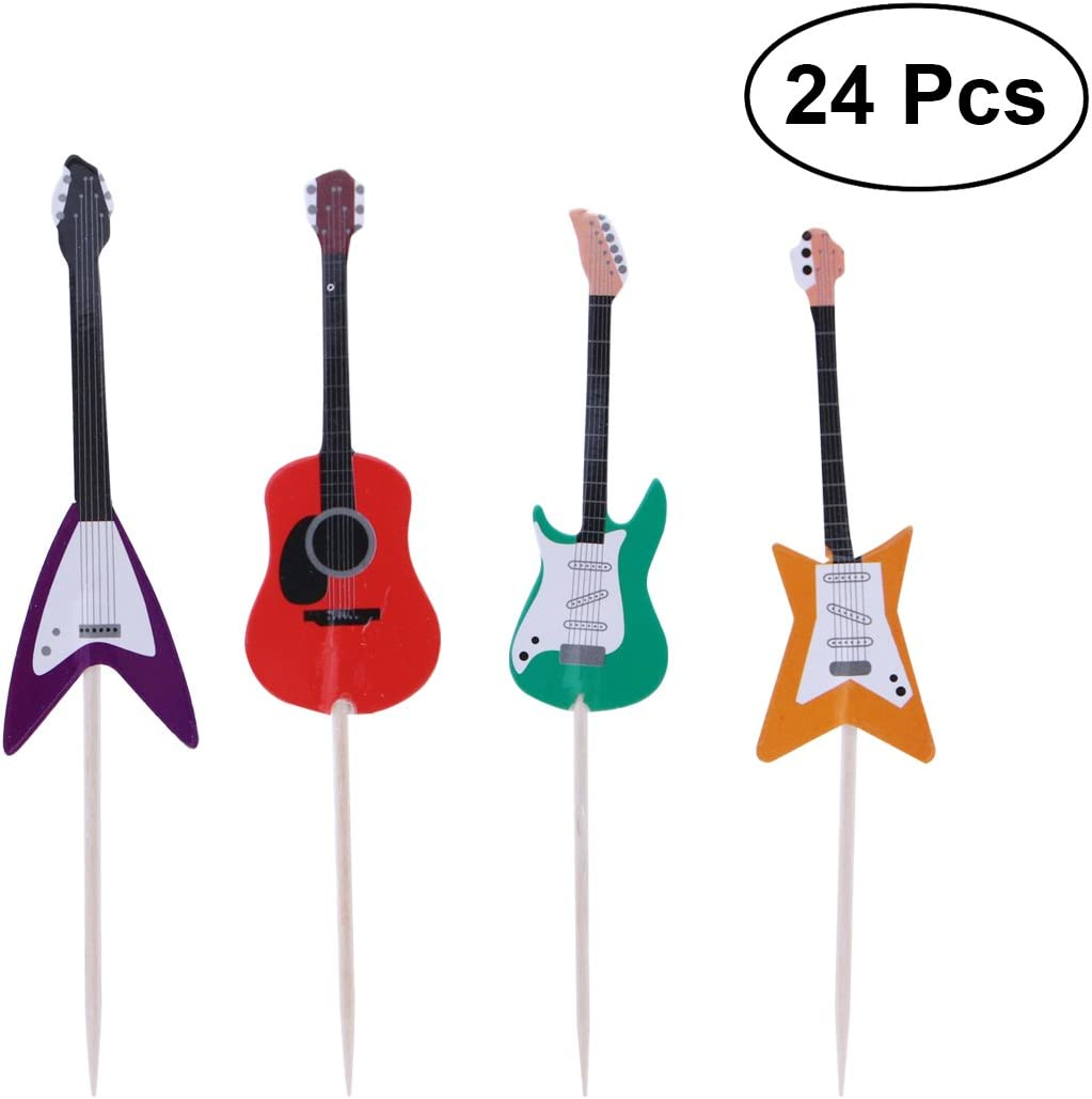 OULII Guitarra Pastel Cupcake Toppers Instrumentos Musicales Forma ...