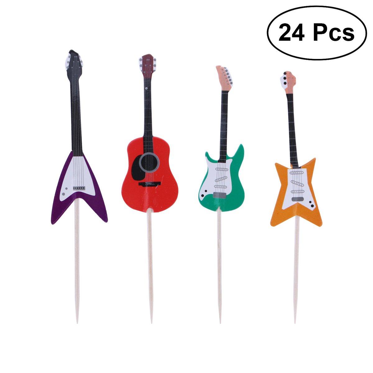 Tinksky 24/pcs Guitare Instrument de musique pour cupcakes Forme outils de d/écoration de cupcake pour f/ête