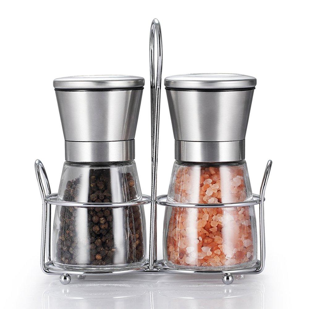 TGY Grinder Set with Stand Adjustable Coarseness Salt & Pepper Shakers Glass Mill Brushed