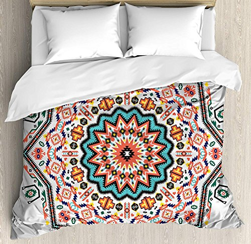 King Size Tribal 3 PCS Duvet Cover Set, Abstract Aztec Style Kaleidoscope Themed Boho Ethnic Sun Pattern Art Print, Bedding Set Bedspread for Children/Teens/Adults/Kids, Coral Turquoise ()