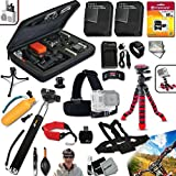 "Xtech Accessory Kit for GoPro HERO4 Hero 4 Includes Head Strap Mount, Chest Strap Mount, 16GB High Speed Memory Card + 2 AHDBT-401 Batteries, Quick AC/CD Charger, 12"" inch Highly Flexible Tripod, Custom Large size Case, Hand Held Monopod, Floating Bobbe"