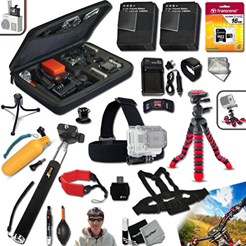 "Xtech Accessory Kit for GoPro HERO4 Hero 4 Includes Head Strap Mount, Chest Strap Mount, 16GB High Speed Memory Card + 2 AHDBT-401 Batteries, Quick AC/CD Charger, 12"" inch Highly Flexible Tripod, Custom Large size Case, Hand Held Monopod, Floating Bobbe by Xtech"