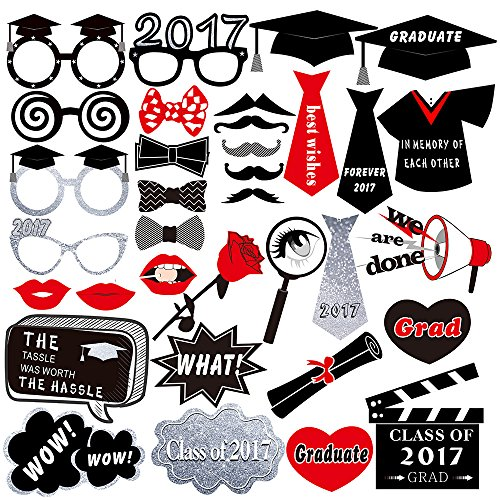 Best Deals! Kuuqa Graduation Photo Booth Props 2017 Graduation Party Decorations, Pack of 34