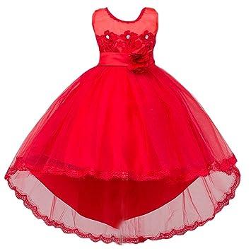 Niñas Chicas Vestidos Elegante Largo con Mangas Cortas para Boda Fiesta Rojo 100CM