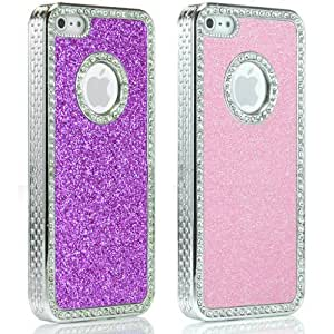 New Hot PINK and Baby Pink Diamante / Diamonte Bling Jewel embedded diamante studs cover for iPhone 5 - 2 Case Set. (2PK) - with FREE Mini Stylus