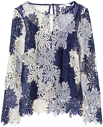 Blu Mix In Find Pizzo Donna Lungo Top blue q1X8F