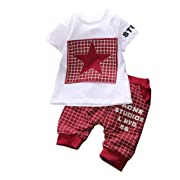Canis Baby Boy Kid 2 Piece Star Sportswear Clothes T-Shirt Top Short Pants Outfit Set (S/0-6M,Dark Red)