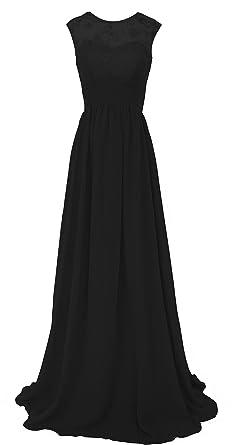 CaliaDress Women Sleeveless See-through Long Prom Gown Bridesmaid Dress C289LF Black US2