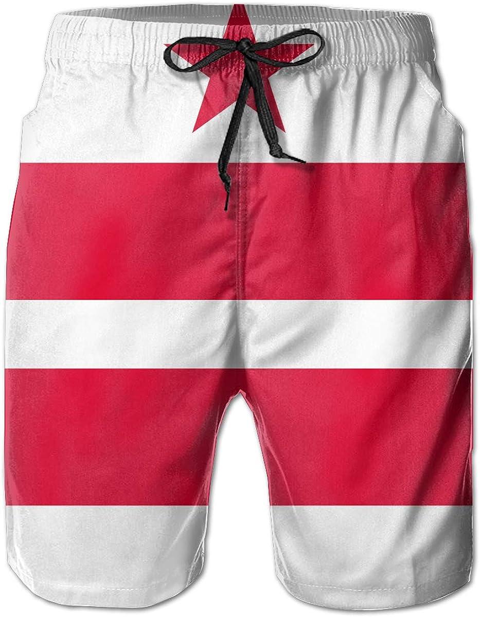 US Flag of Washington DC Beach Shorts Showy Mens Beach Pants Adults Surf Board Trunks Home Leisure Trousers