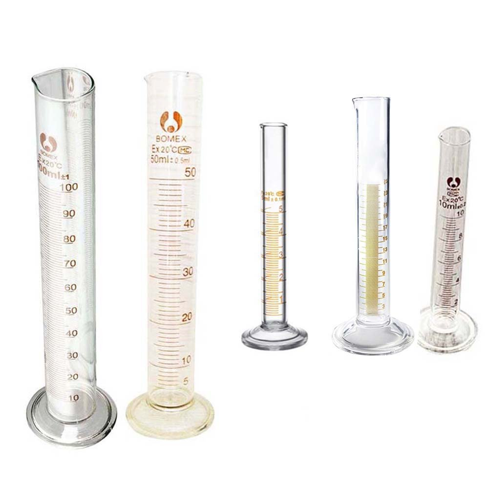 C-Pioneer 5pcs Measuring Cylinders Glass Graduated Cylinder Lab Test Tube 5ml,10ml,25ml,50ml,100ml