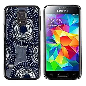 MOBMART Carcasa Funda Case Cover Armor Shell PARA Samsung Galaxy S5 Mini, SM-G800 - Traditional Large Blue Flowers
