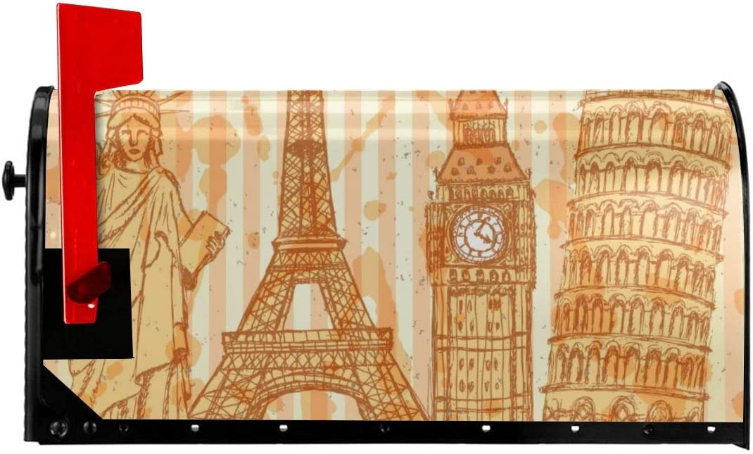 "Mailbox Cover Eiffel Tower, Pisa Tower, Big Ben, Statue Of Liberty Magnetic Mailbox Mail Wraps Post Letter Box Covers Set Standard Size Home Garden Outside Yard Outdoor Decor Standard Size 21""x 18"" In"