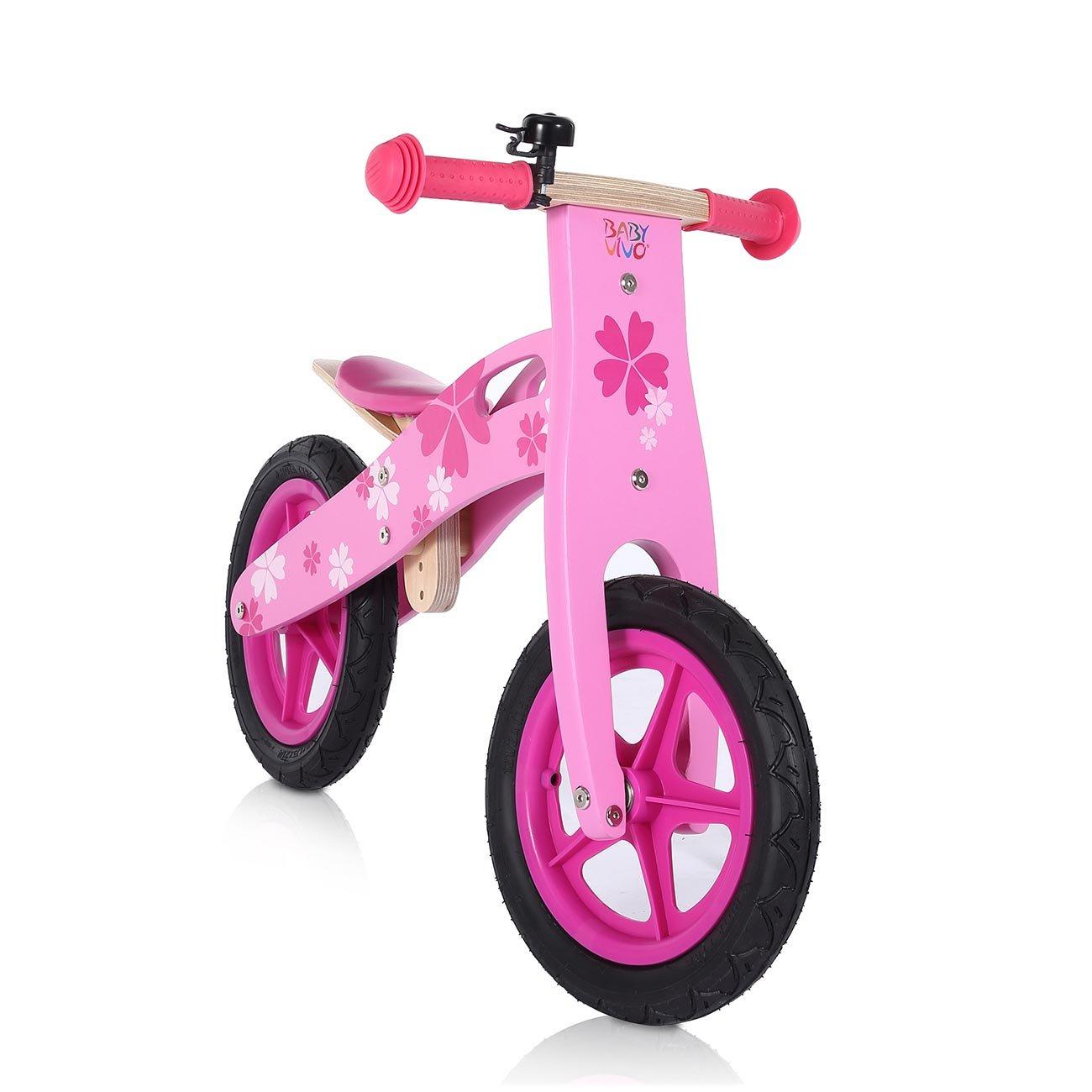 Baby Vivo Bicicletta Bici Triciclo Spinta Bambini Guidare Corsa Equilibrio Legno Colori Campanello Pneumatici 12 Pollici Pinky