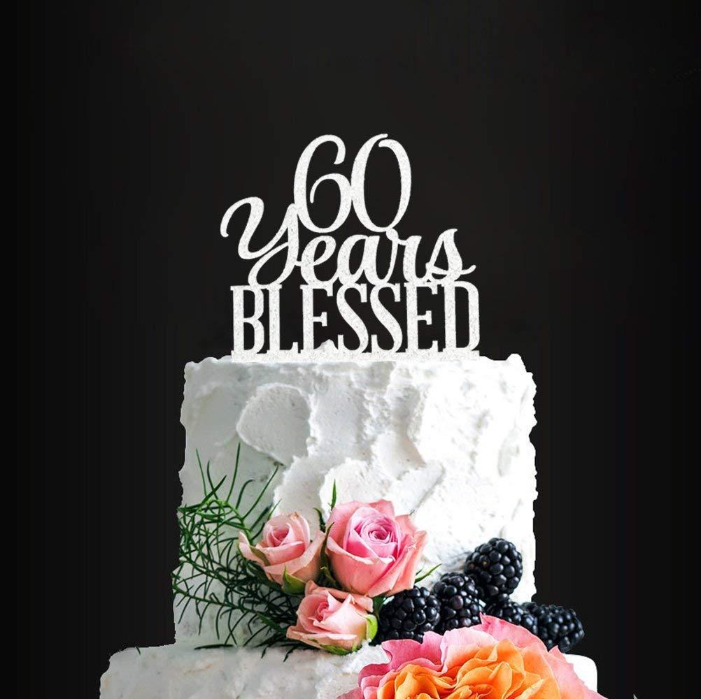 Phenomenal Amazon Com Acrylic 60 Years Blessed Cake Topper 60Th Birthday Personalised Birthday Cards Sponlily Jamesorg
