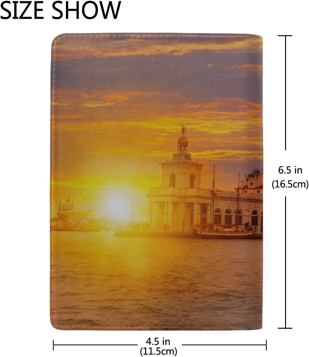 Passport Holder Travel Cover Case Famous Canal And Bridge At Sunset Stylish Pu Leather Travel Accessories Passport Case Girls For Women Men