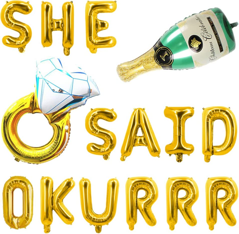SHE SAID OKURRR Balloons Banner She Said Yes Diamond Ring Champagne Foil Mylar Gold Letter Balloon XO Nola Bachelorette Decoration Sign Supplies Engaged Bride Shower Hen Party 17PCS of Qinsly (Gold)